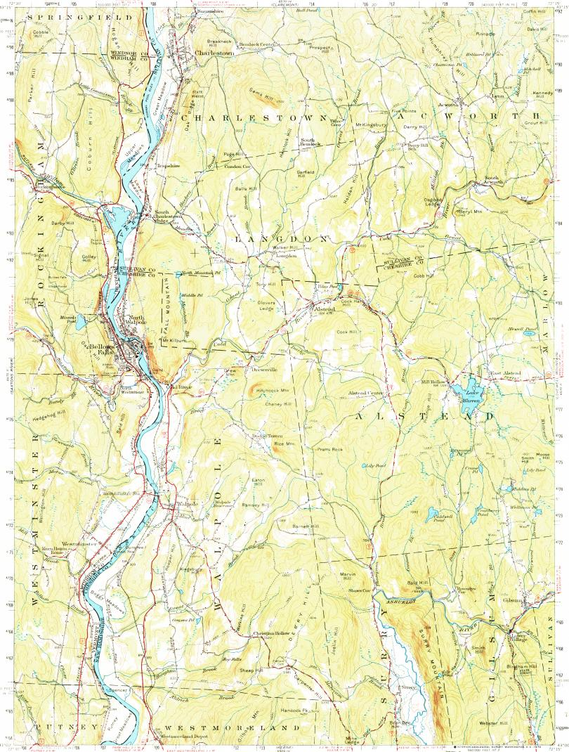 Download topographic map in area of Westminster Bellows Falls