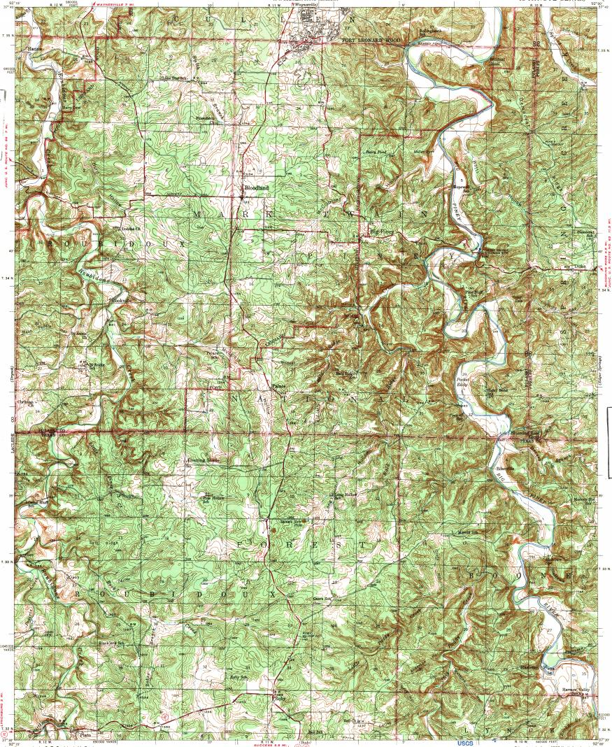 Download Topographic Map In Area Of Fort Leonard Wood Mapstor Com