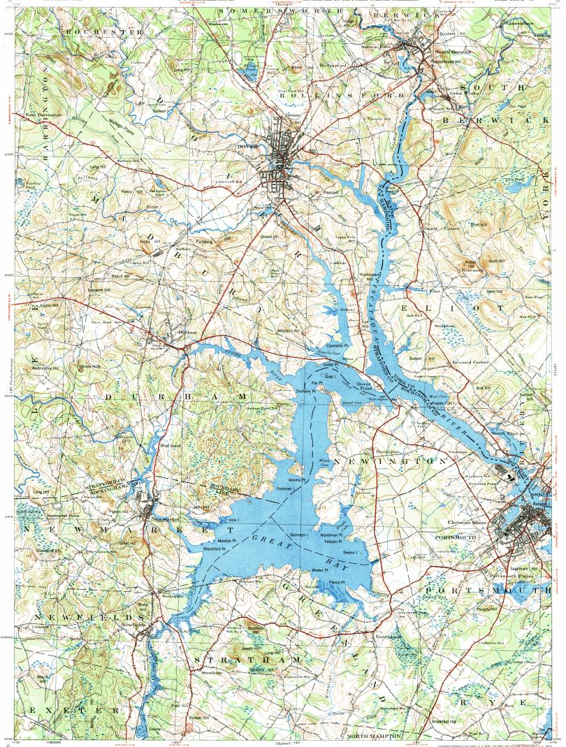Download topographic map in area of Portsmouth Dover Durham