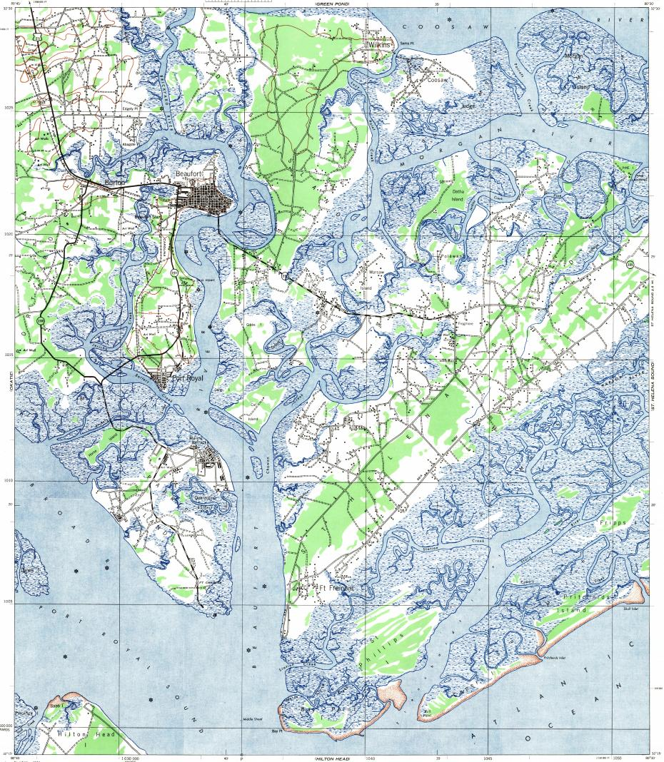 reduced fragment of topographic map enusgsk. download topographic map in area of parris island beaufort