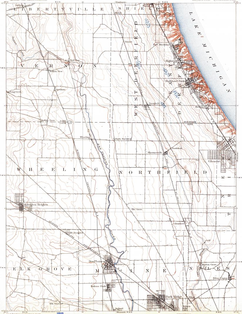 Download topographic map in area of Des Plaines, Mount Prospect ...