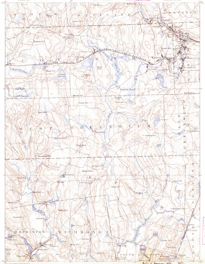 Download topographic map in area of West Warwick Hope Valley
