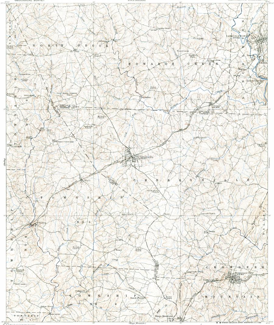 Download topographic map in area of Bessemer City