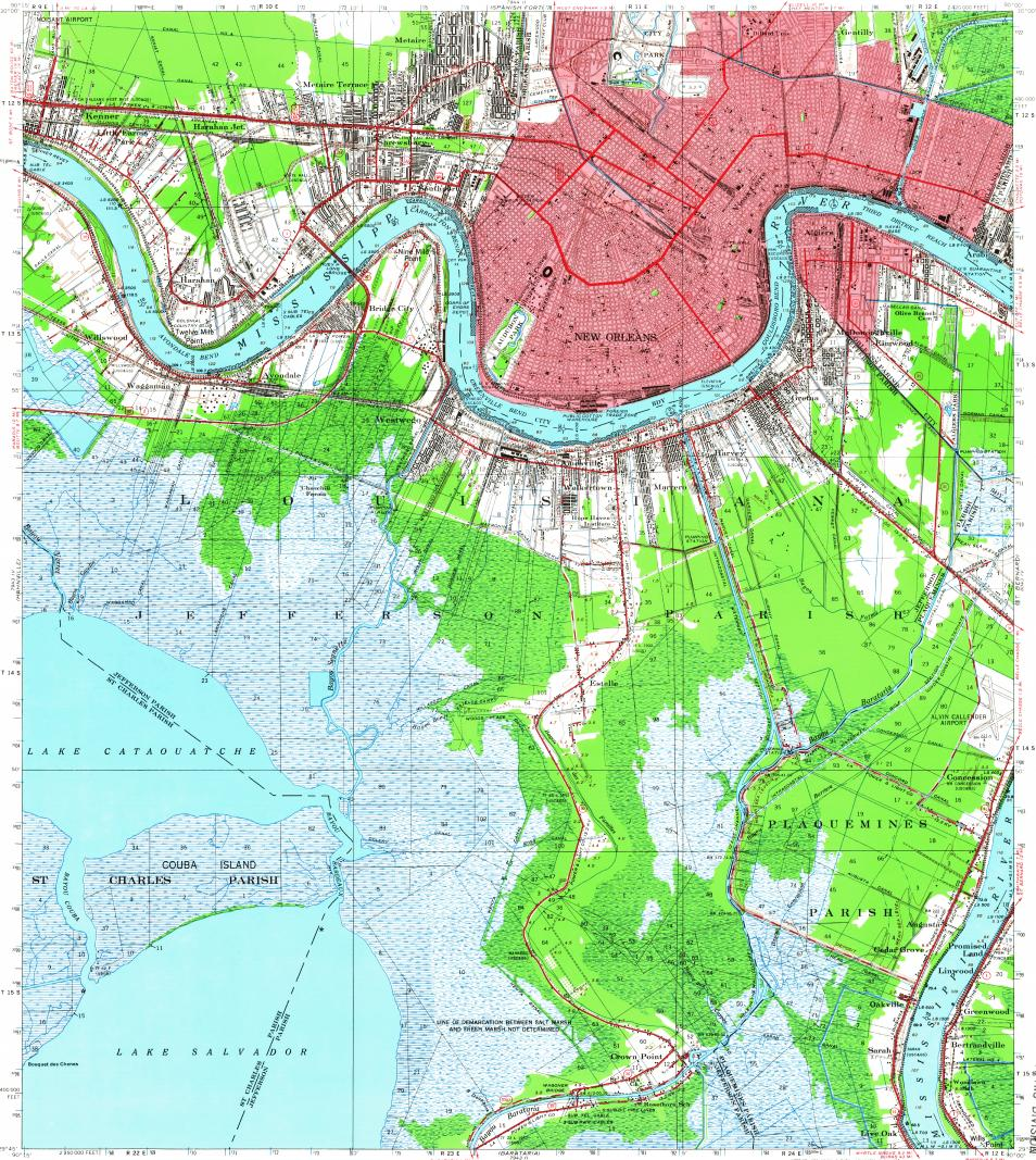 Download Topographic Map In Area Of New Orleans Metairie Terrytown