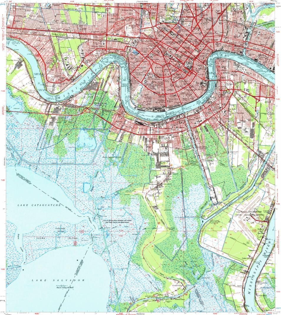 Download topographic map in area of New Orleans, Metairie
