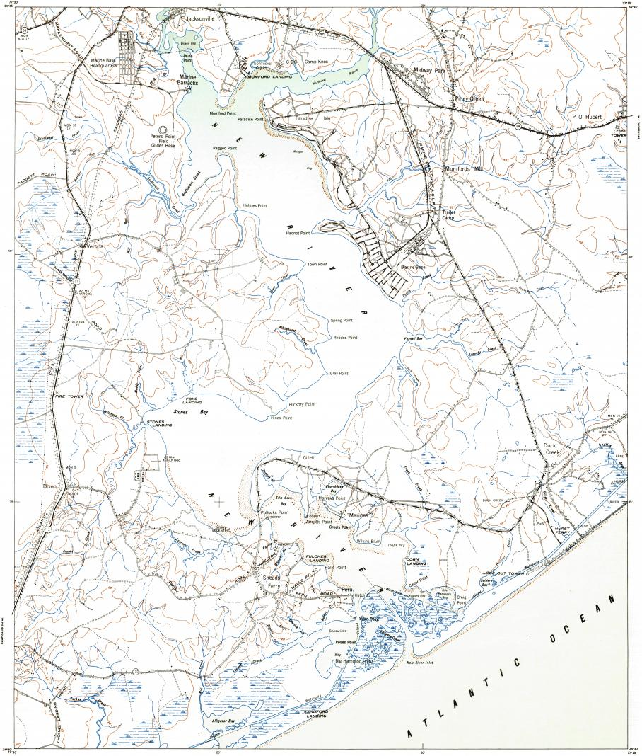 Download topographic map in area of Camp Lejeune Central, New River on