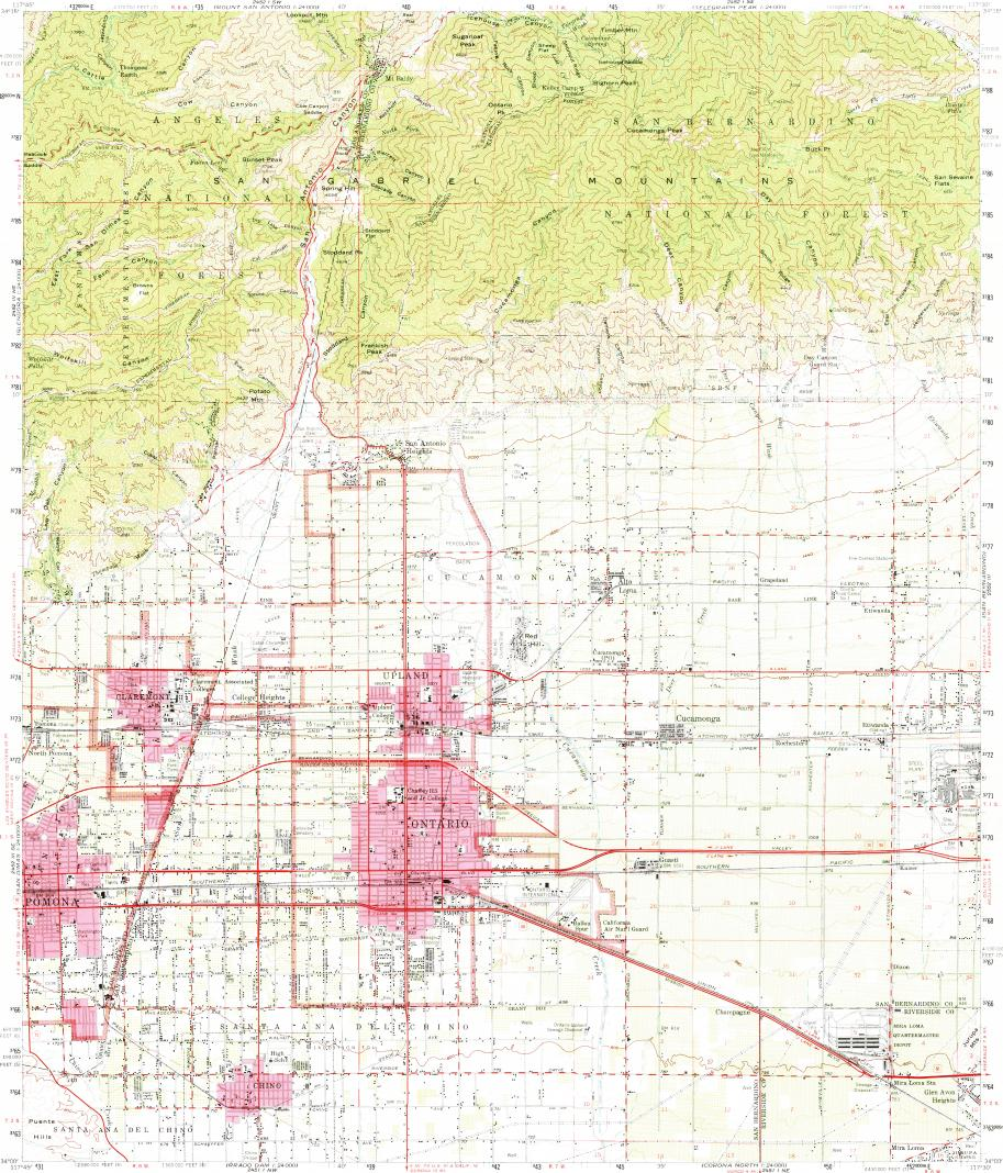 Ontario Topographic Map.Download Topographic Map In Area Of Ontario Rancho Cucamonga
