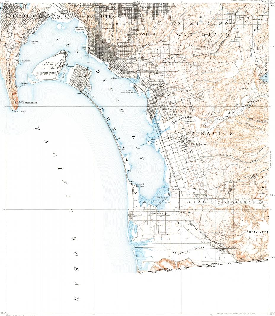 Download topographic map in area of Tijuana Chula Vista National