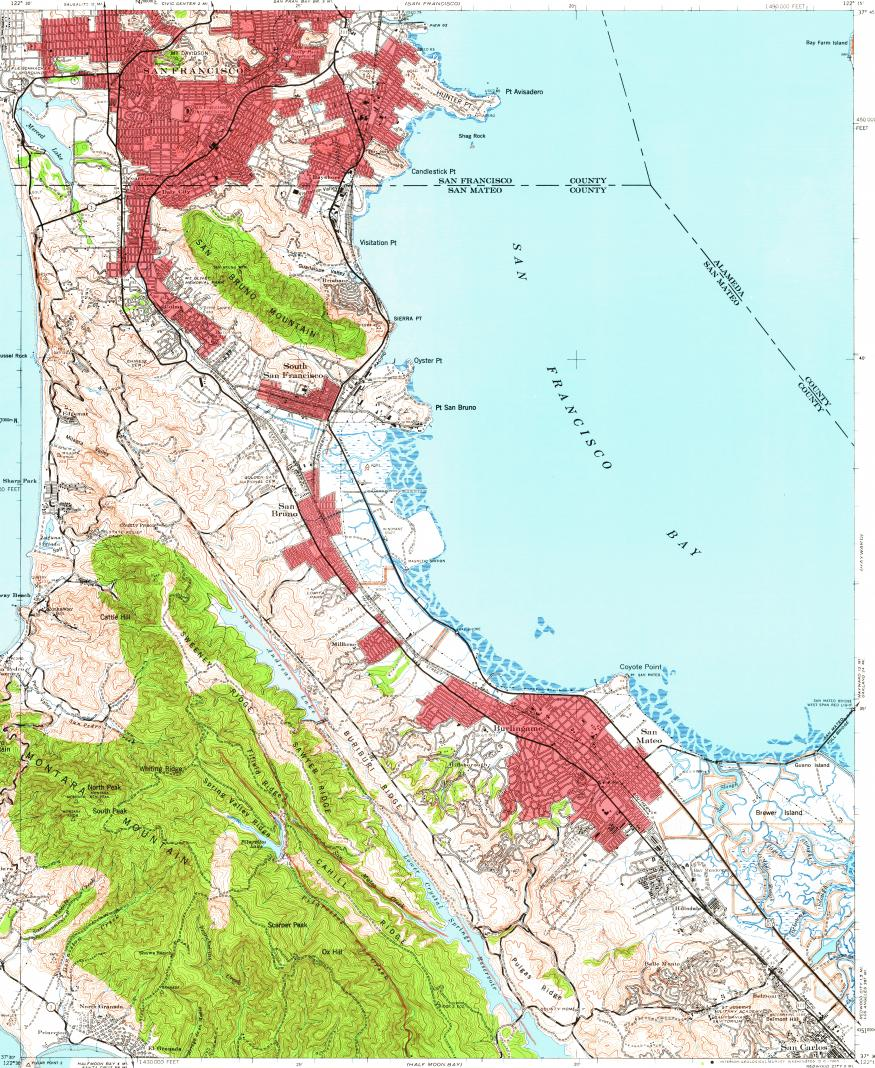 Download topographic map in area of San Mateo South San Francisco