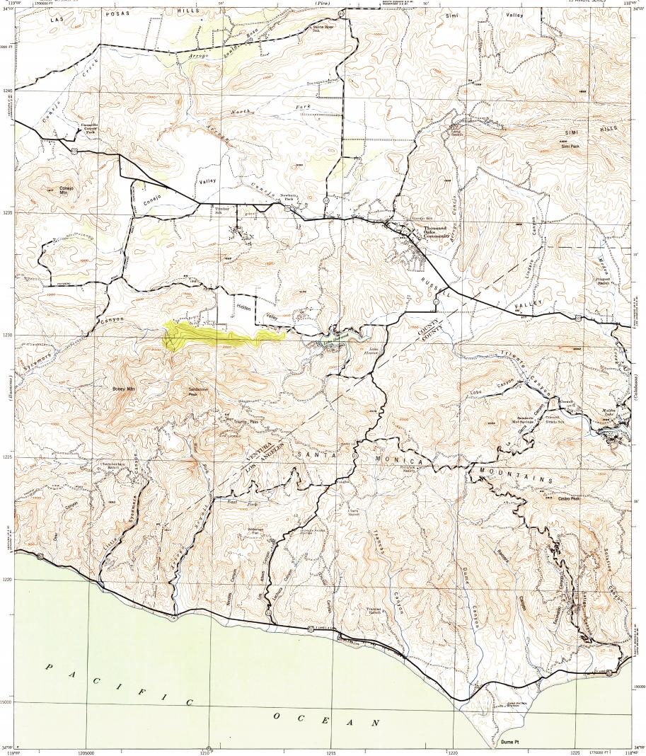 Download Topographic Map In Area Of Thousand Oaks Agoura Hills - Thousand oaks map