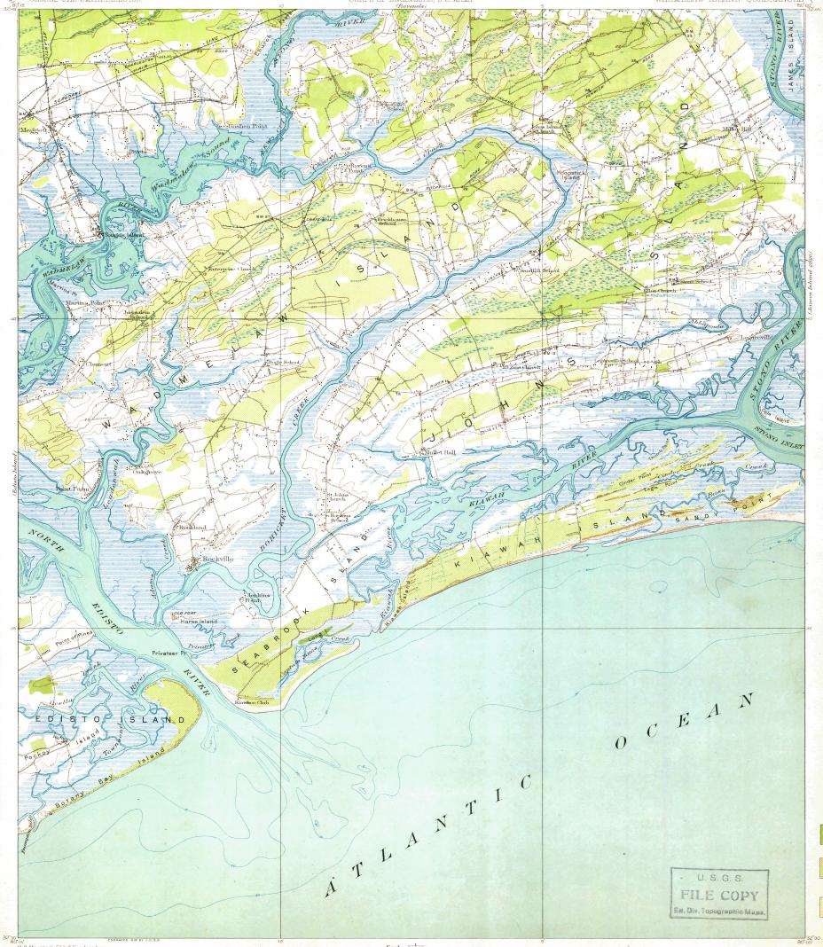 download topographic map in area of kiawah island seabrook island  - reduced fragment of topographic map enusgsk