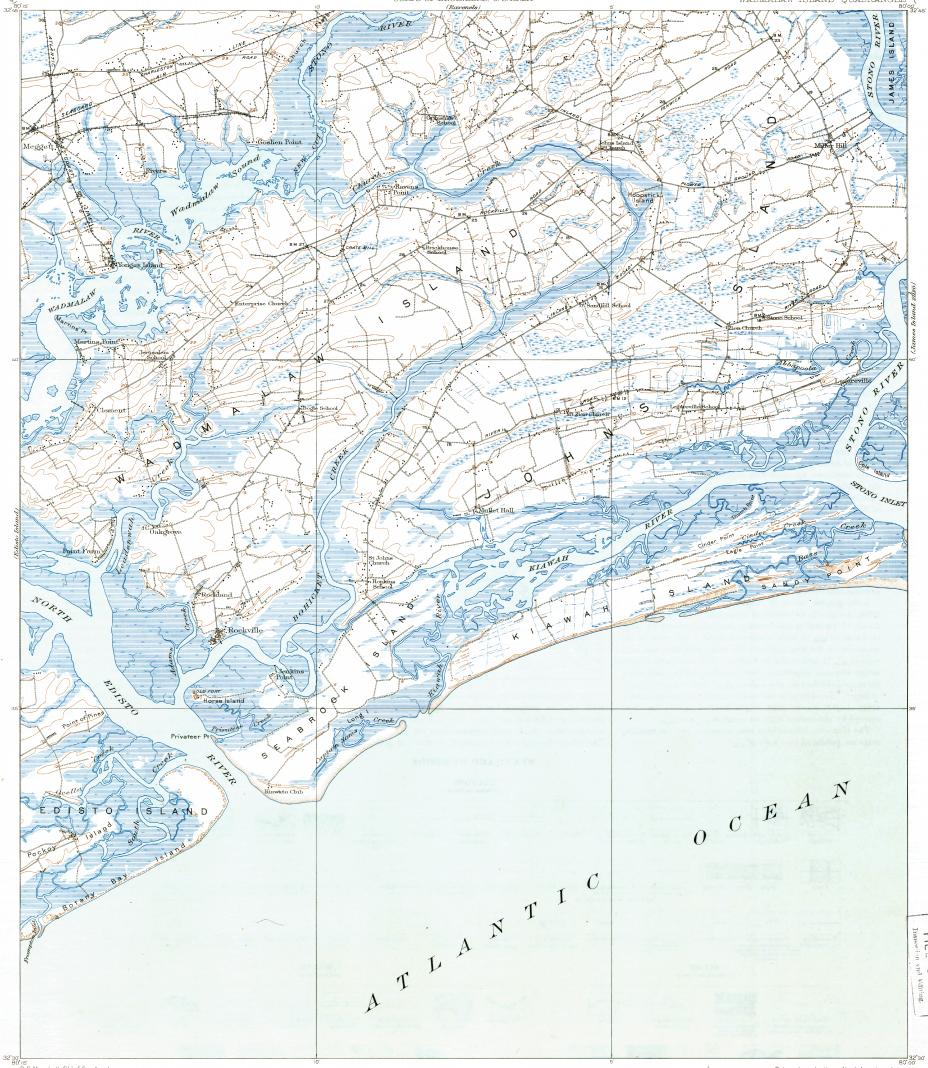 download topographic map in area of seabrook island kiawah island  - reduced fragment of topographic map enusgsk
