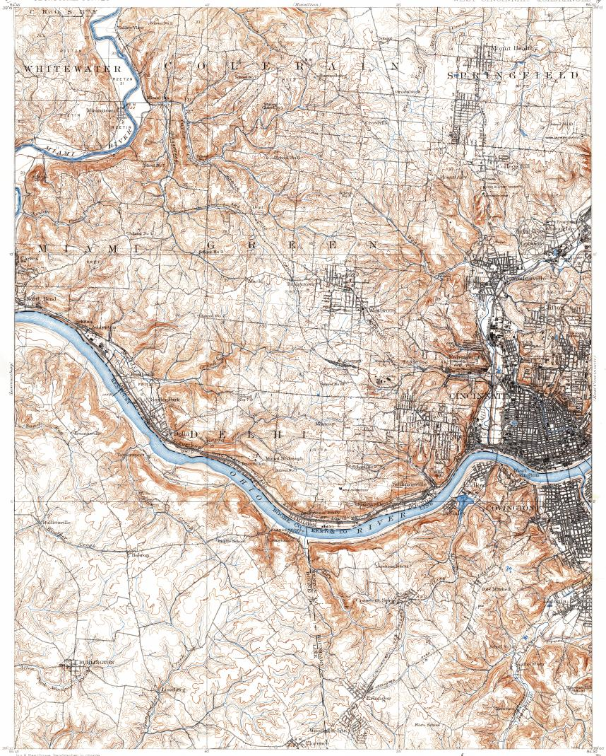 Download Topographic Map In Area Of Cincinnati Covington White Oak