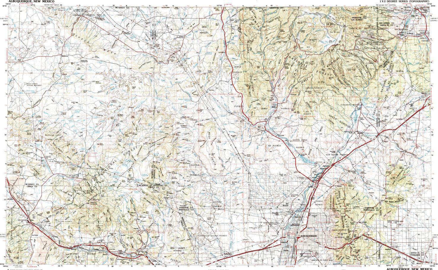 Download topographic map in area of Albuquerque, South Valley, Rio