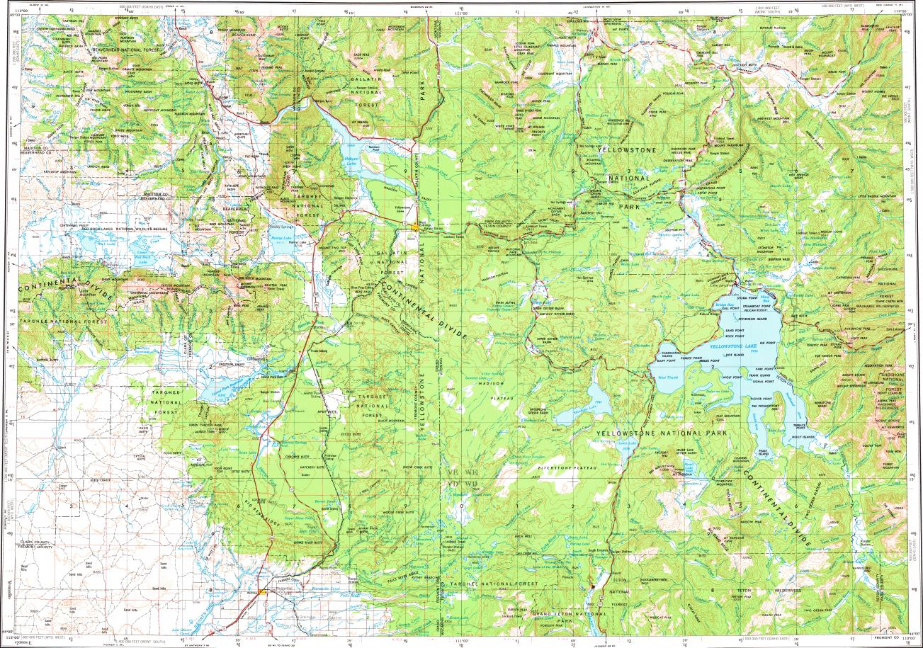 Download topographic map in area of Warm River Ashton West
