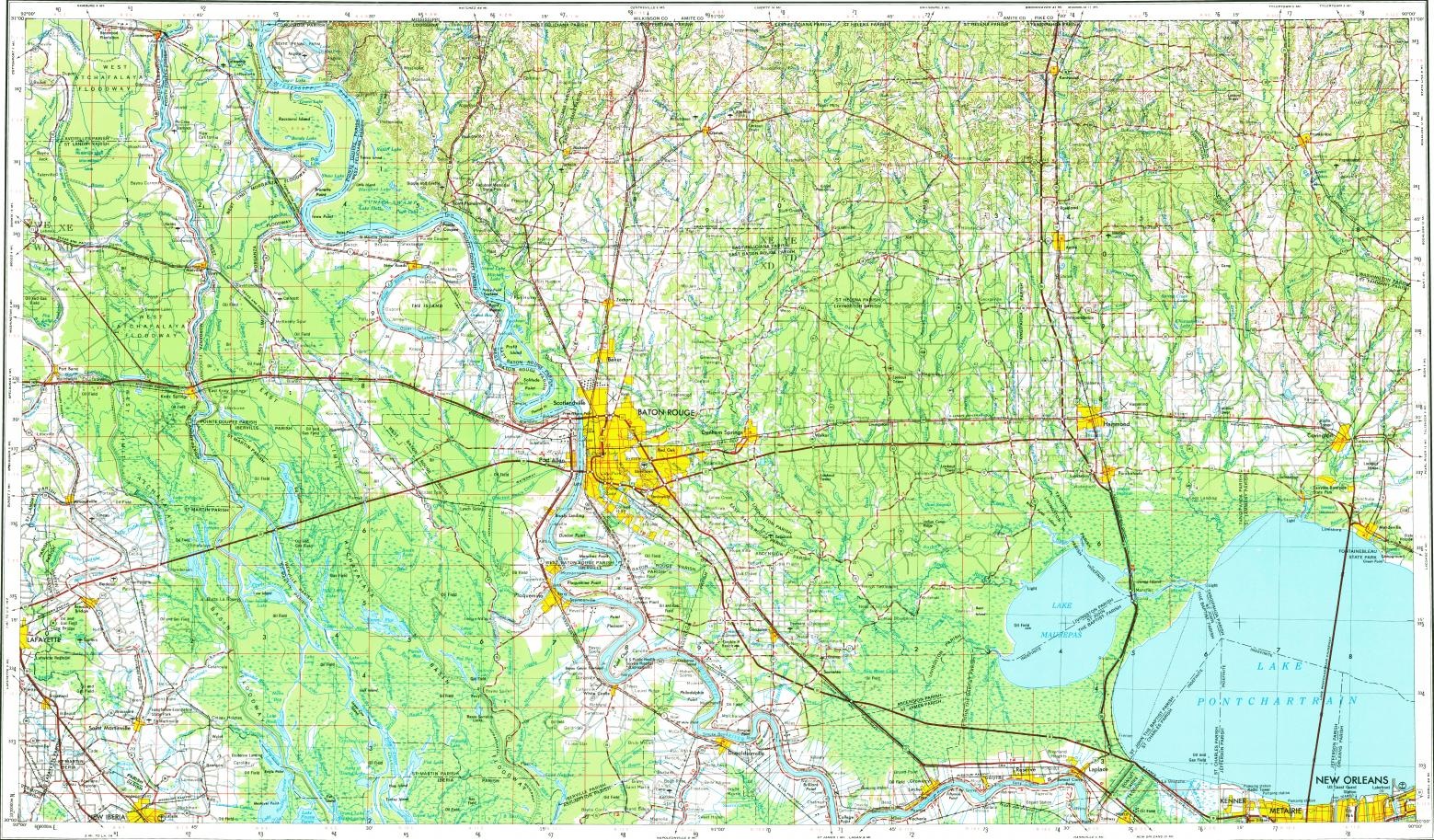 Download topographic map in area of Baton Rouge Kenner New Iberia