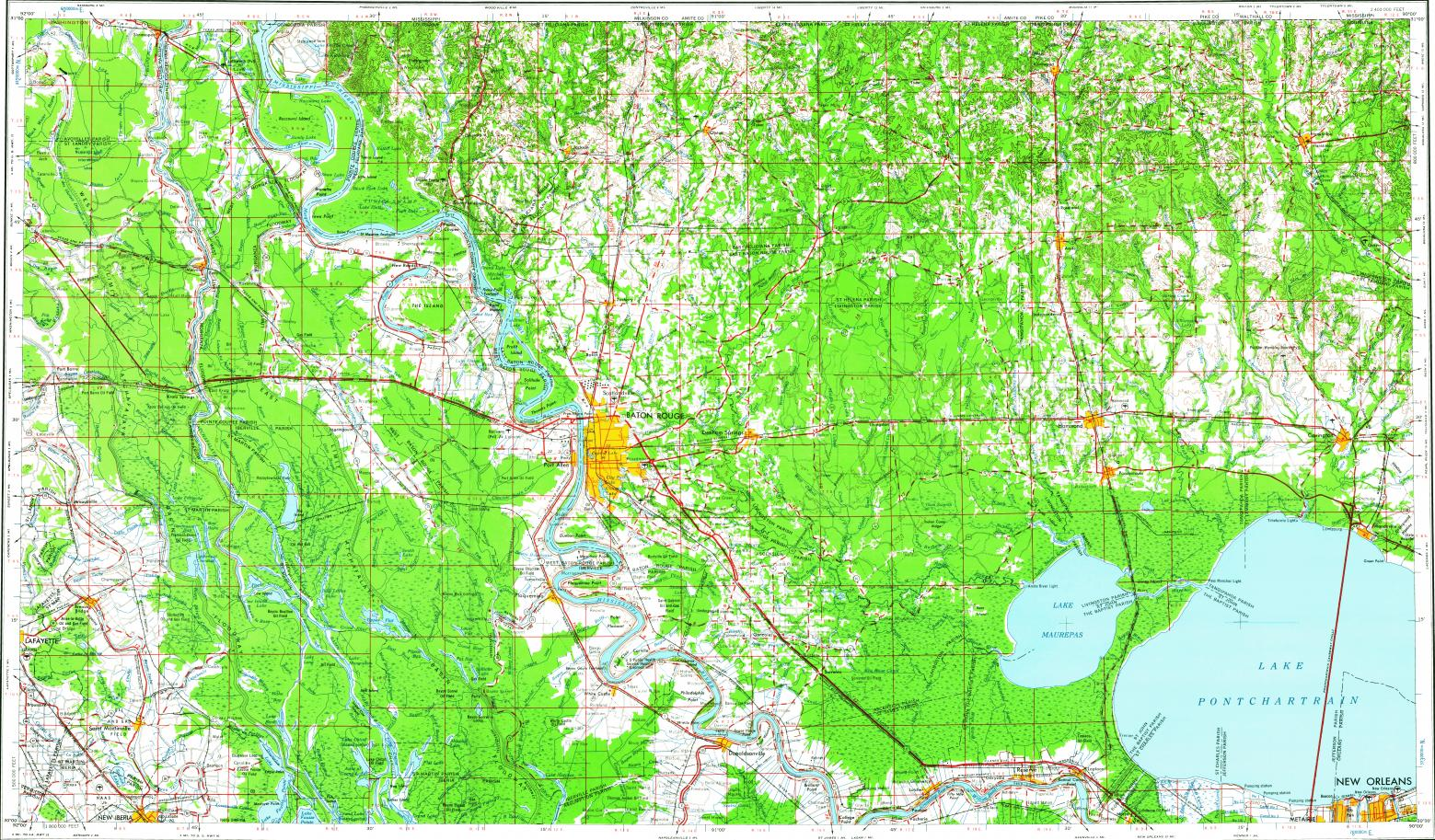 Download topographic map in area of Baton Rouge Kenner Laplace