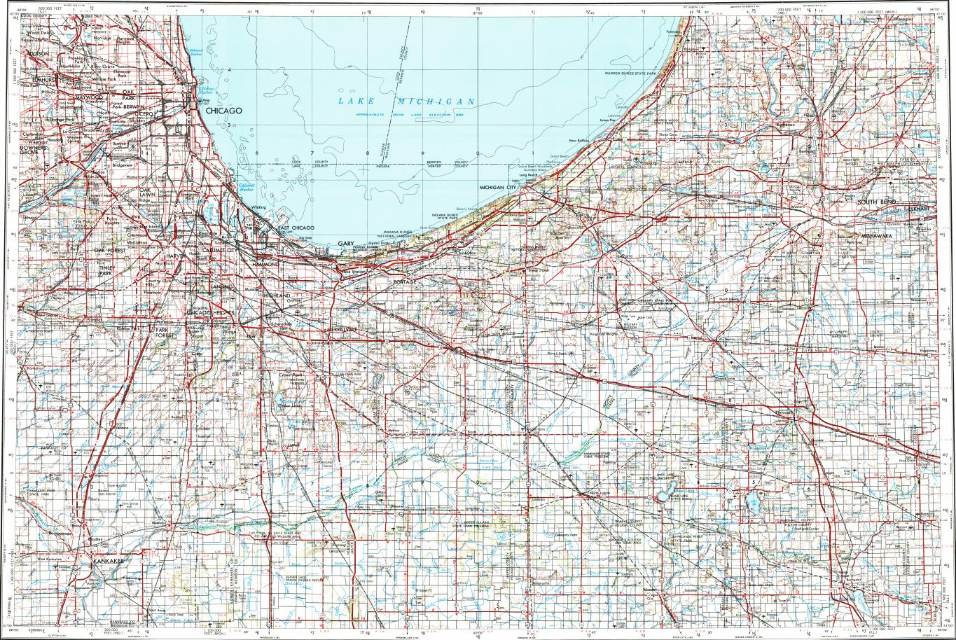 Download topographic map in area of Chicago, Gary, South Bend