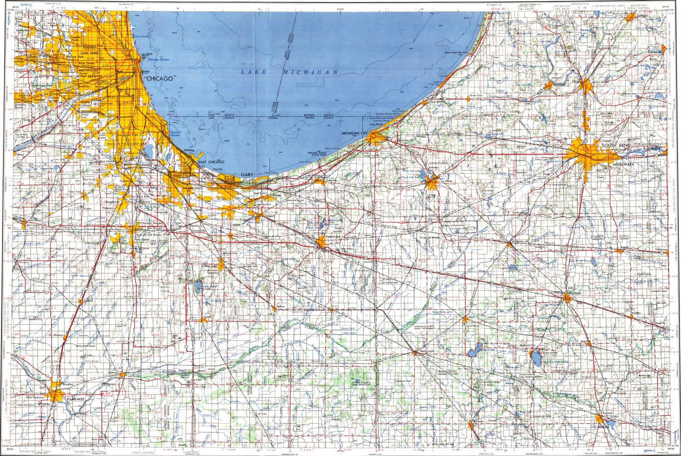 Download Topographic Map In Area Of Chicago Gary South Bend - South bend map