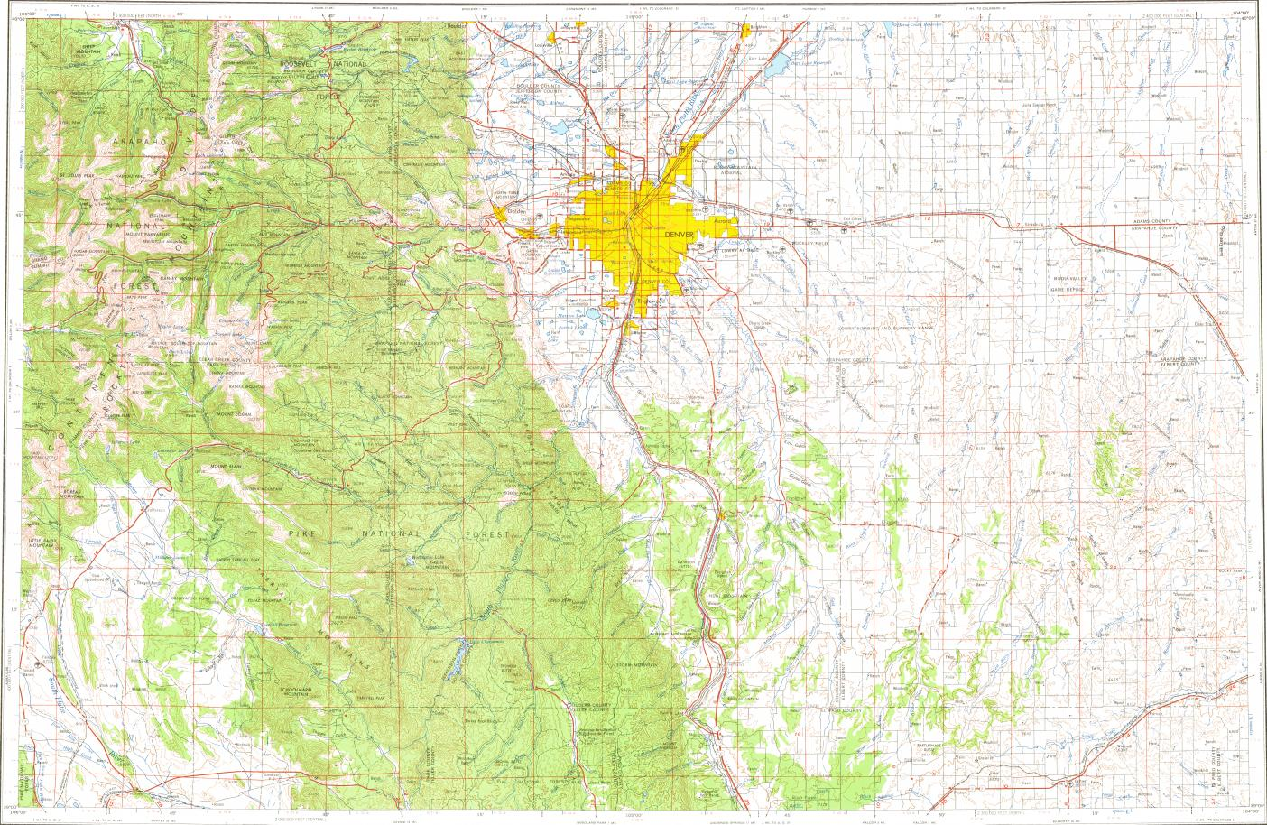 Download Topographic Map In Area Of Denver Aurora Lakewood