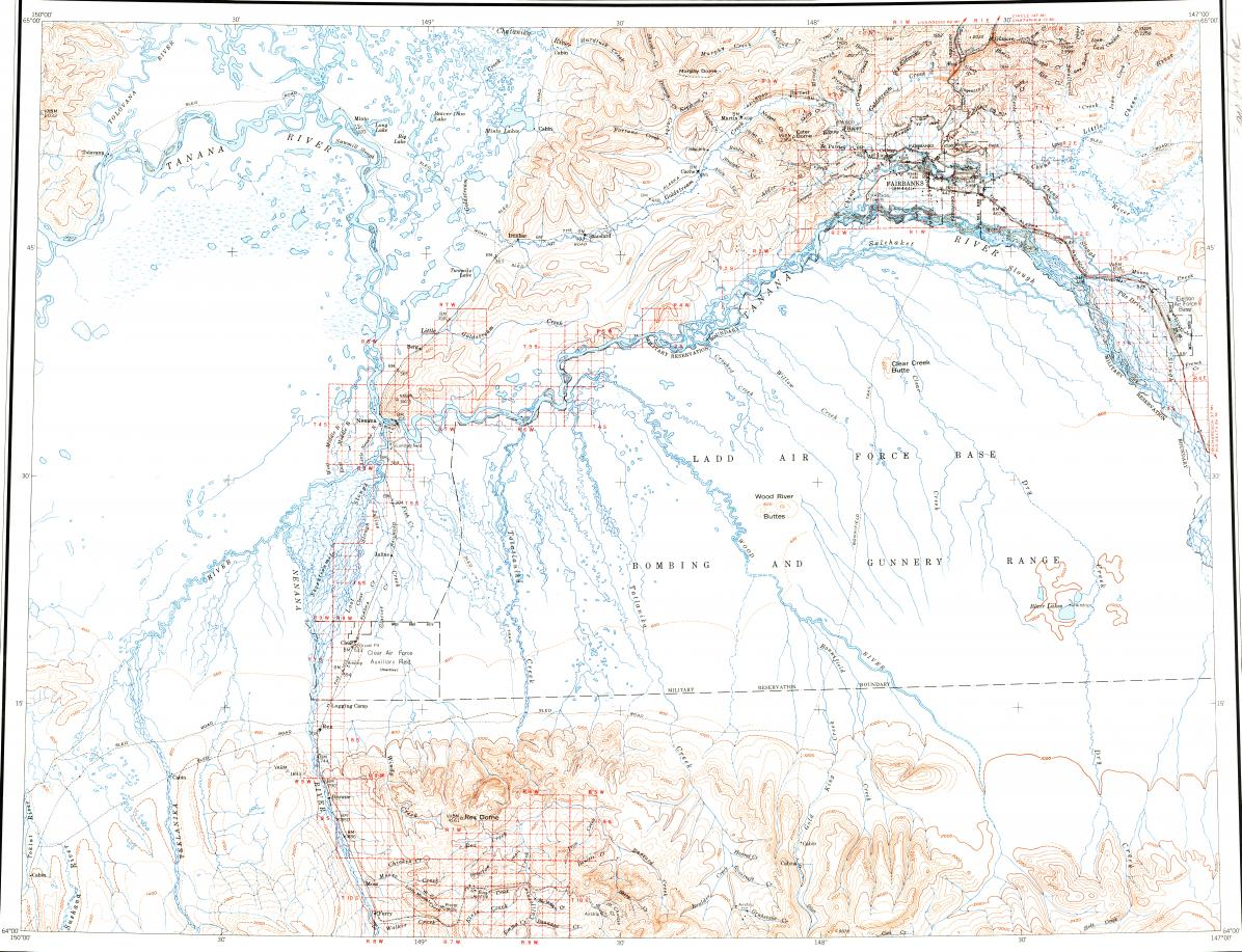 Download Topographic Map In Area Of Fairbanks Eielson Afb Moose - Usgs topo maps alaska
