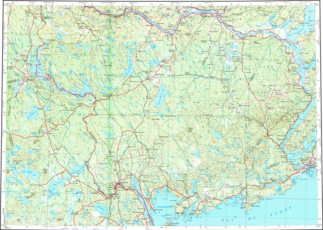 Download topographic map in area of Saint John Fredericton