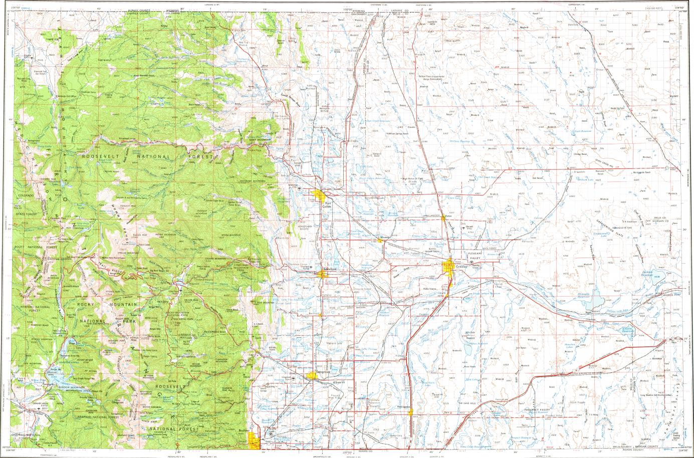 Download topographic map in area of Boulder Fort Collins Greeley