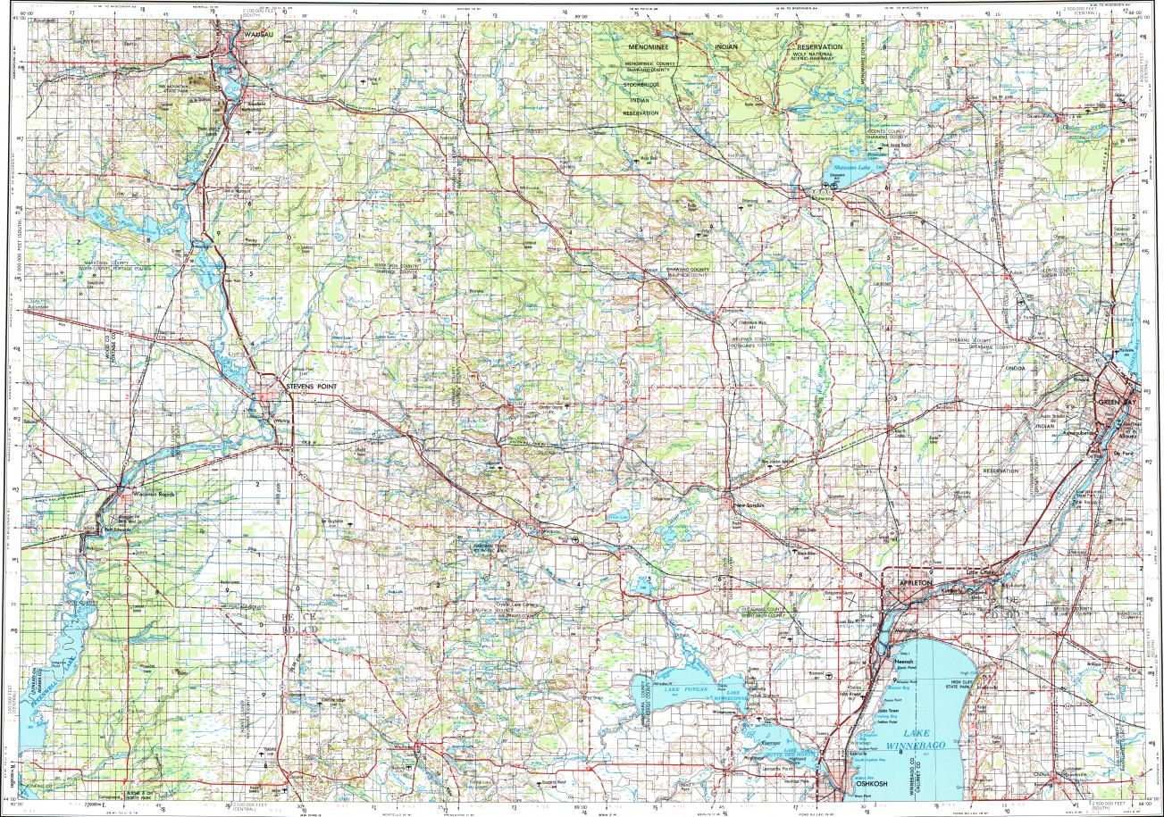 Download topographic map in area of Appleton Wausau Oshkosh