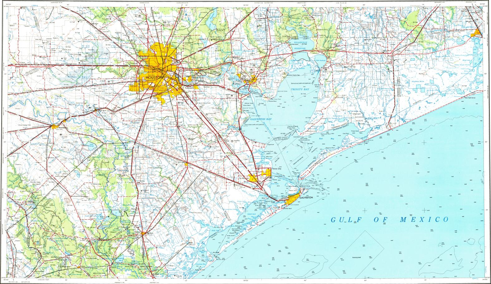 Download topographic map in area of Houston, Galveston, Pasadena