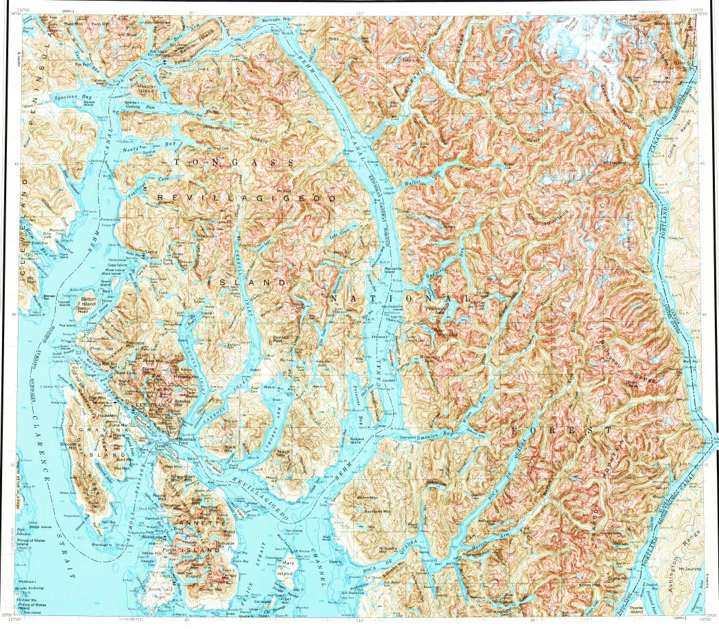Download topographic map in area of Ketchikan Annette Hyder