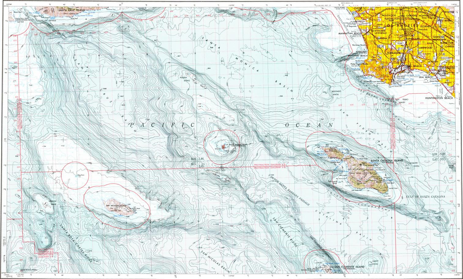 Download Topographic Map In Area Of Long Beach Huntington Beach