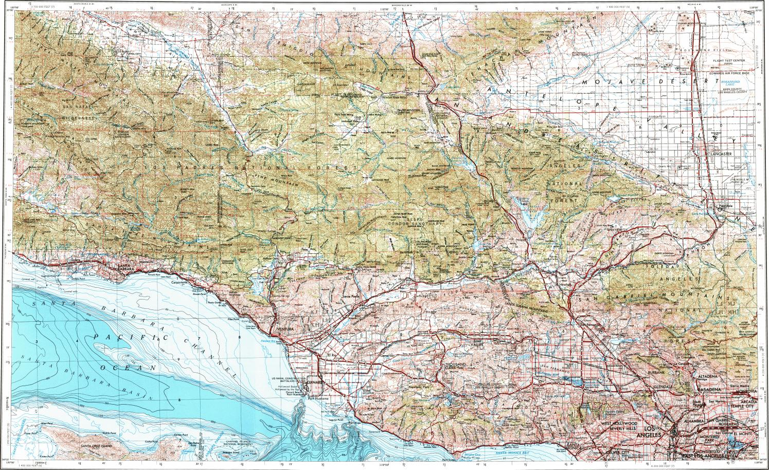 Download Topographic Map In Area Of Los Angeles Oxnard Santa - Los angeles topographic map