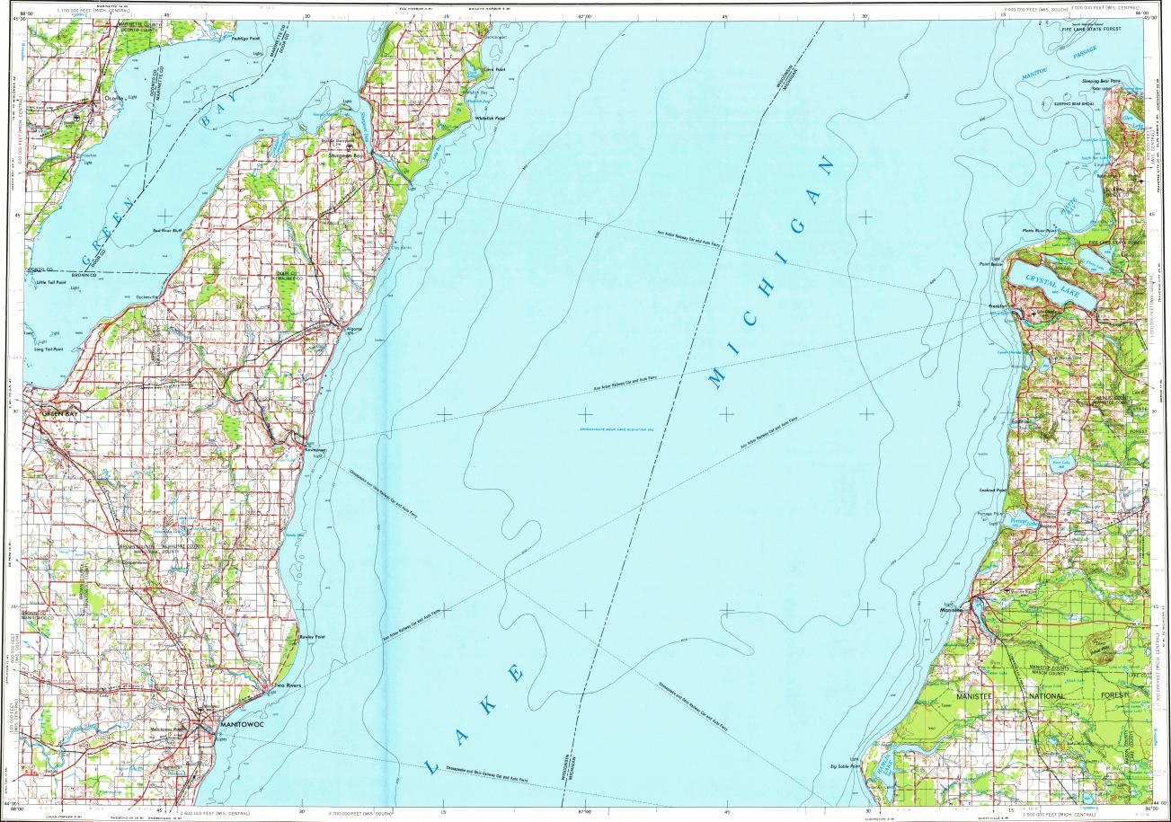 Download topographic map in area of Green Bay, Manitowoc, Two Rivers on