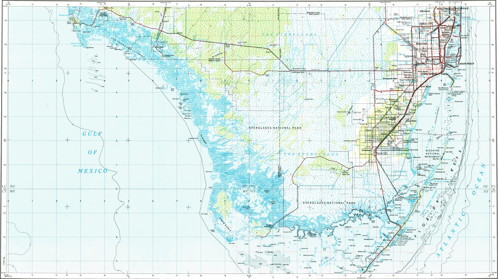 Download topographic map in area of Miami Hialeah Kendall