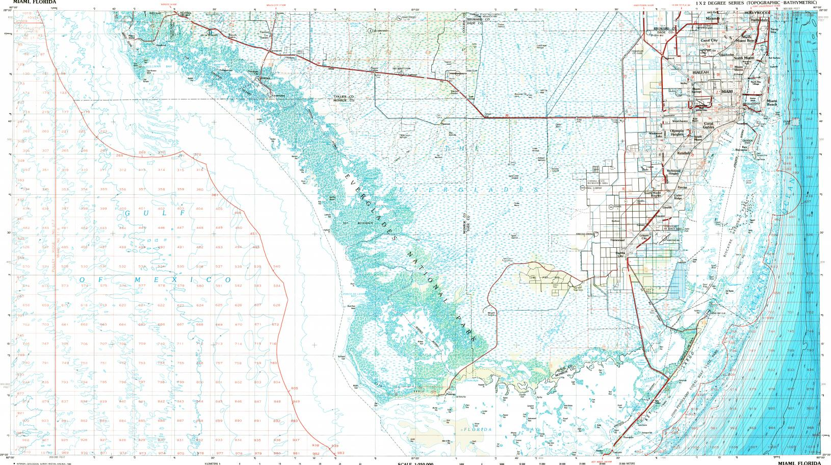 Download Topographic Map In Area Of Miami Hialeah Carol City - Kendall florida map