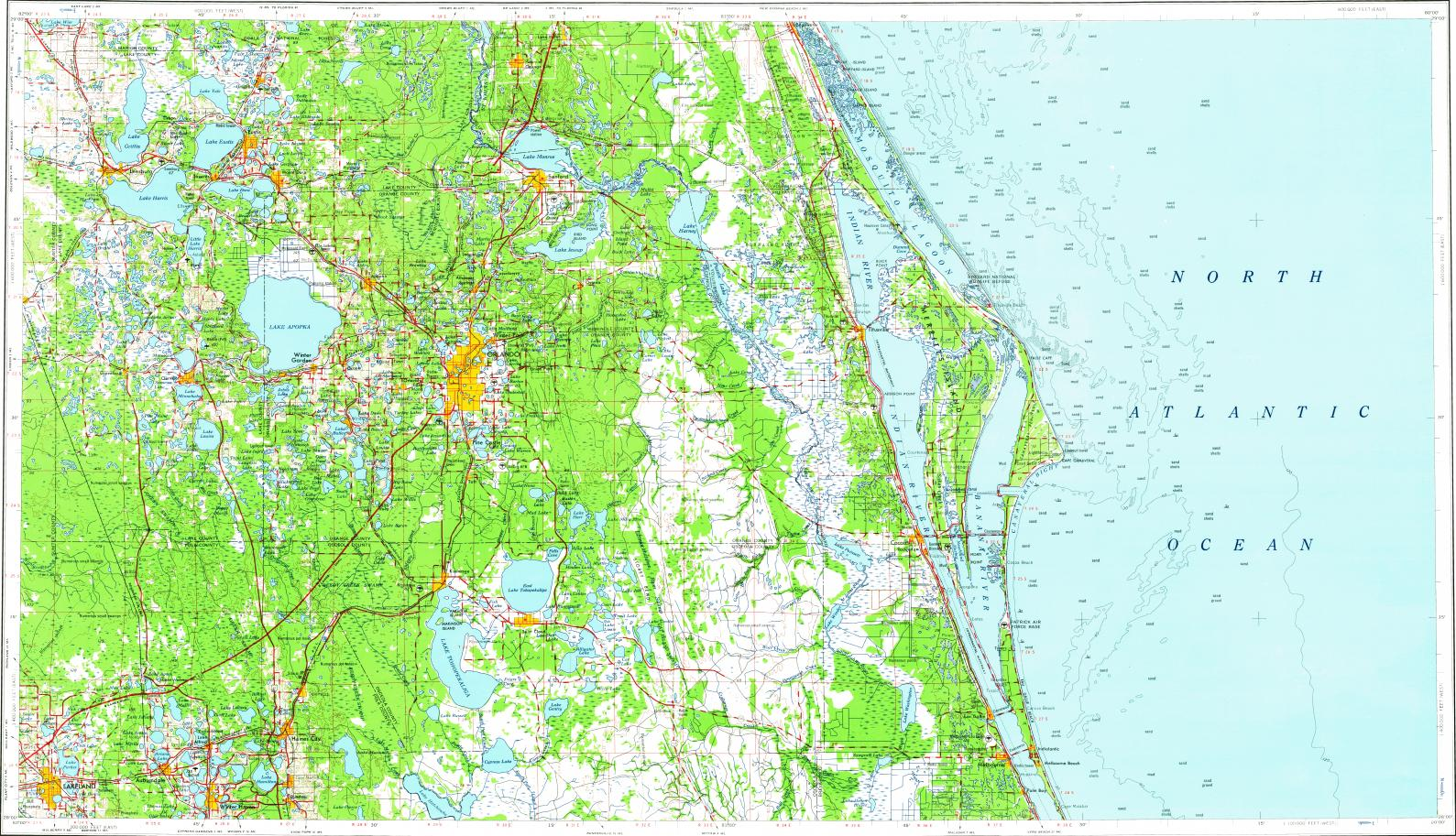 Download topographic map in area of Orlando, Melbourne ...