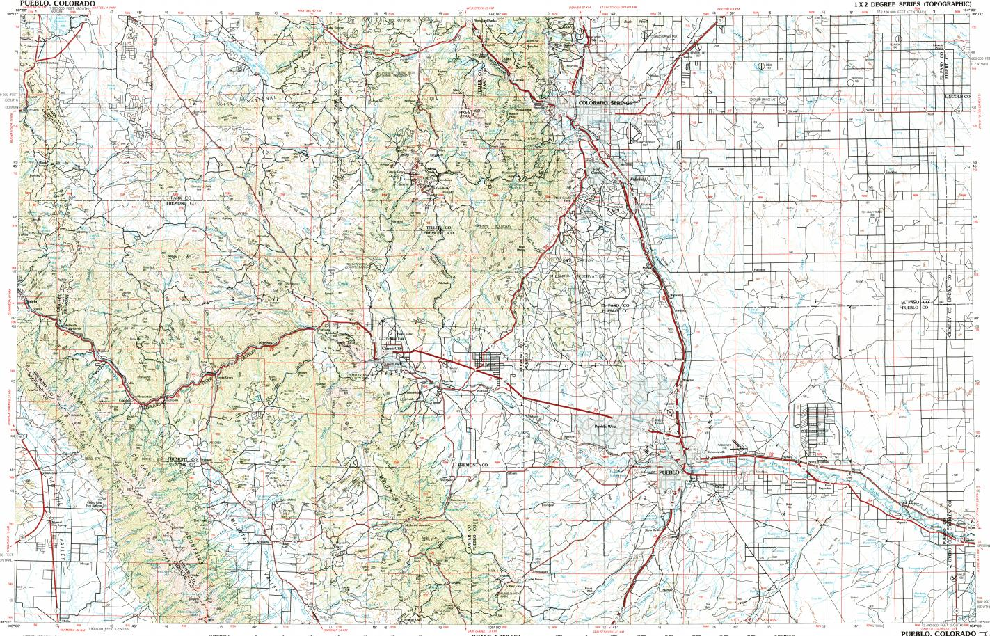 Download topographic map in area of Colorado Springs, Pueblo ... on