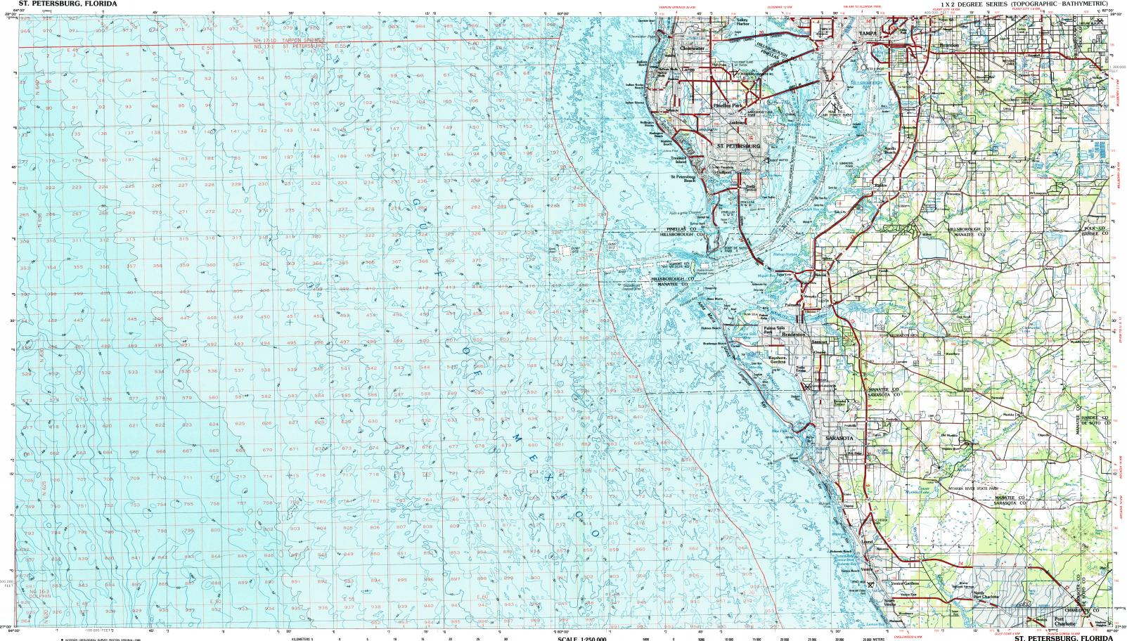 Tampa Topographic Map.Download Topographic Map In Area Of Tampa Sarasota St Petersburg