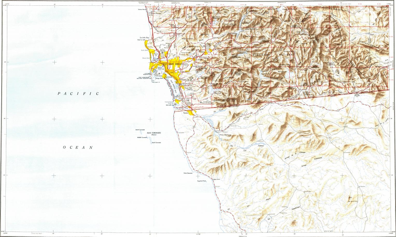 Download topographic map in area of San Diego Tijuana Chula Vista