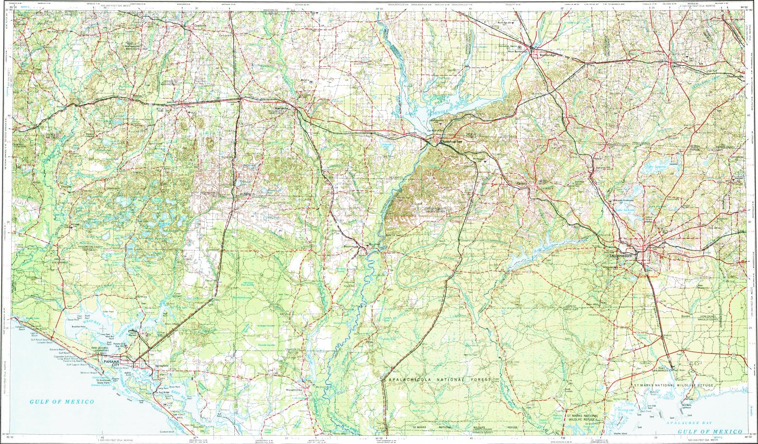 Topographic Map Of Panama.Download Topographic Map In Area Of Tallahassee Panama City