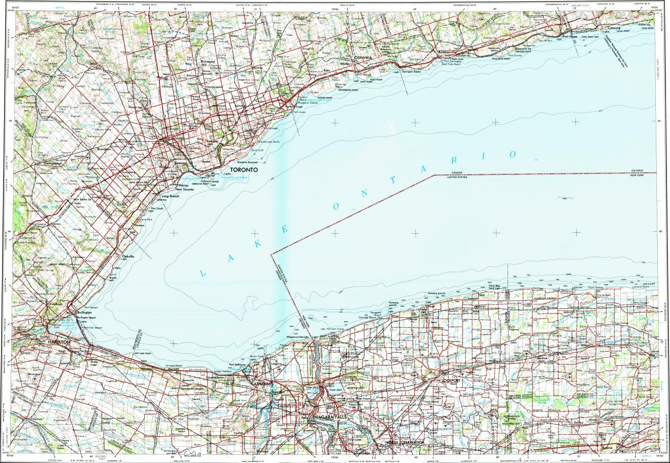 Download Topographic Map In Area Of Toronto Hamilton