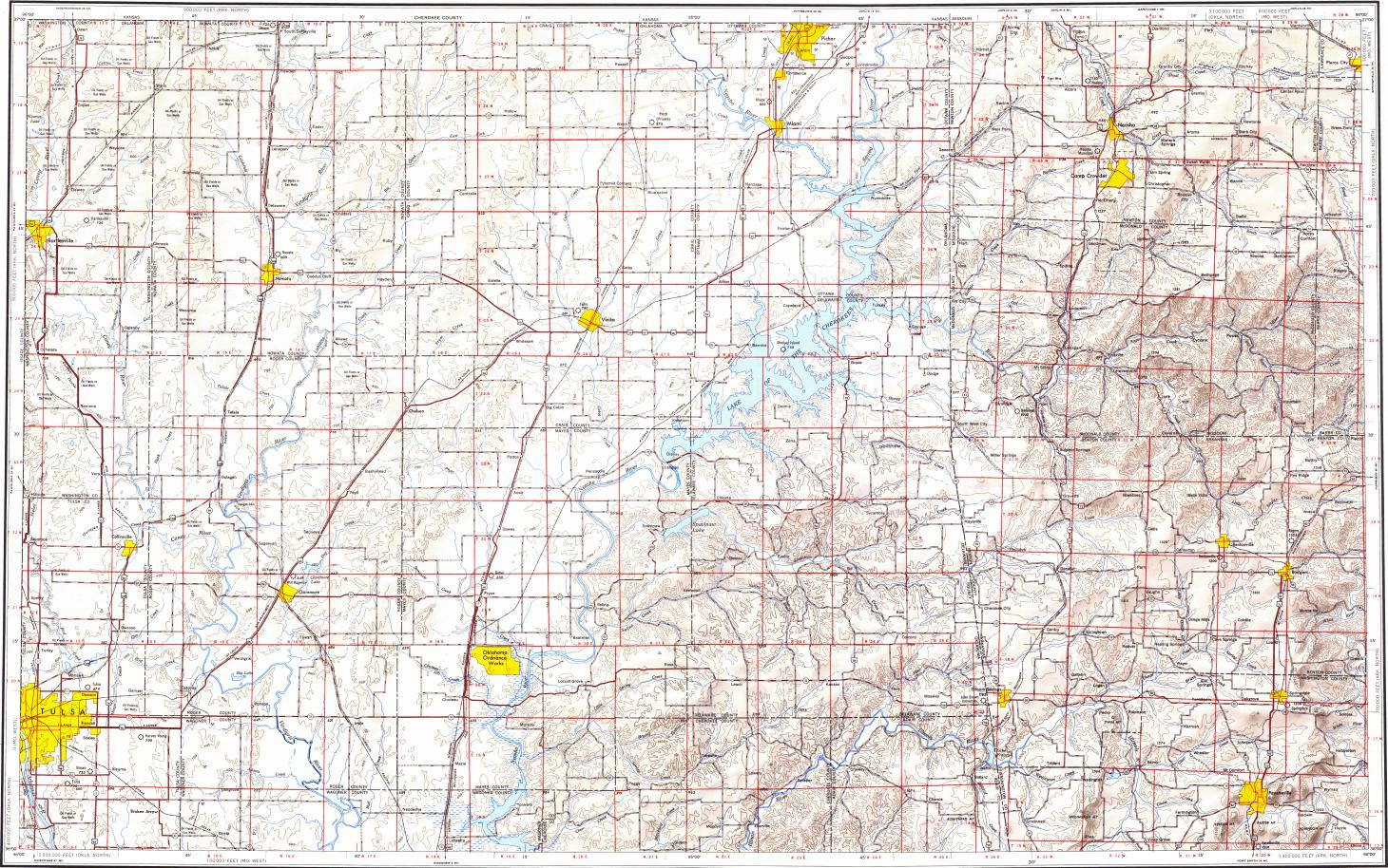 Download topographic map in area of Tulsa, Fayetteville, Broken ...