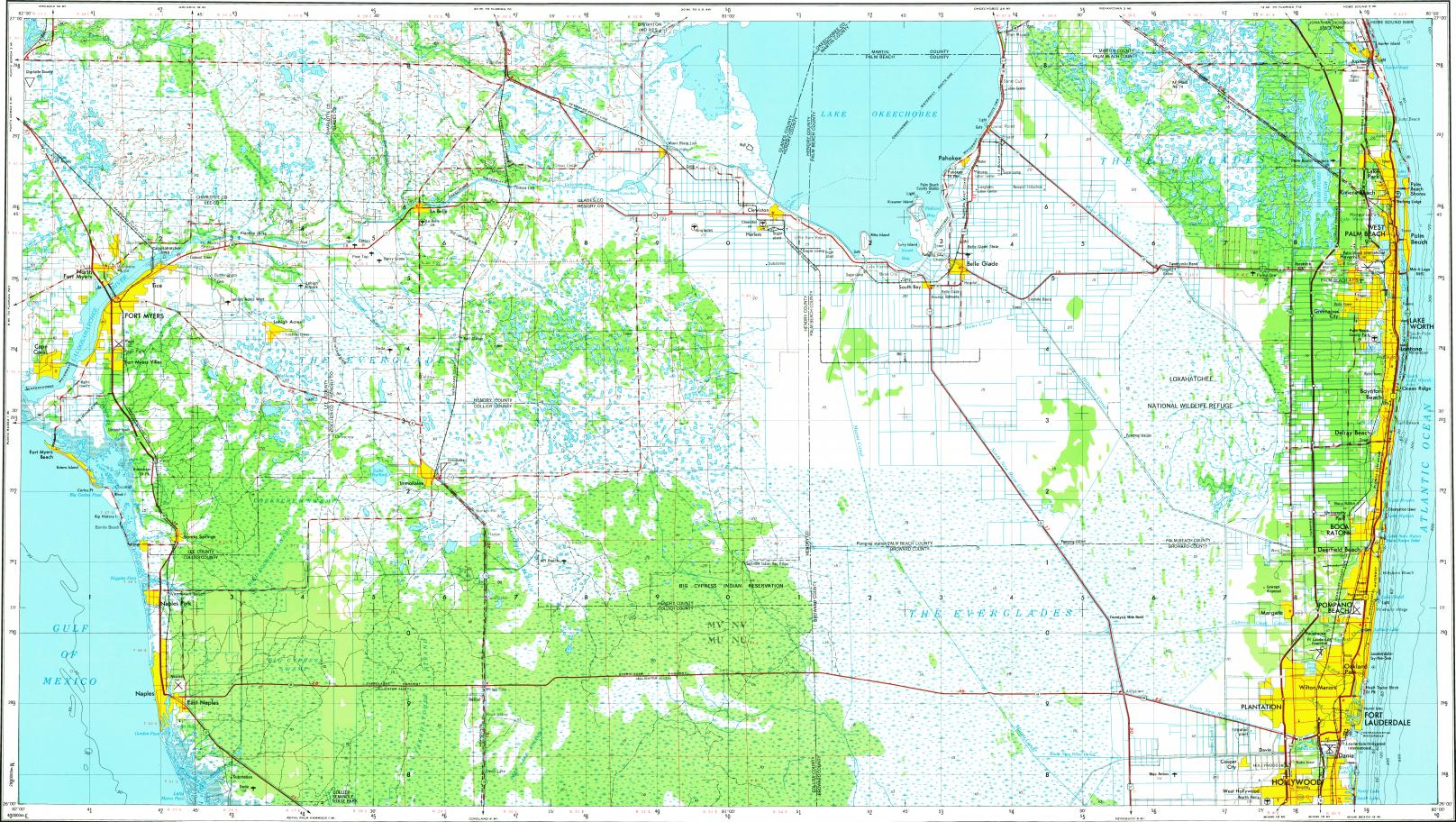 Download topographic map in area of Fort Lauderdale, West Palm Beach ...