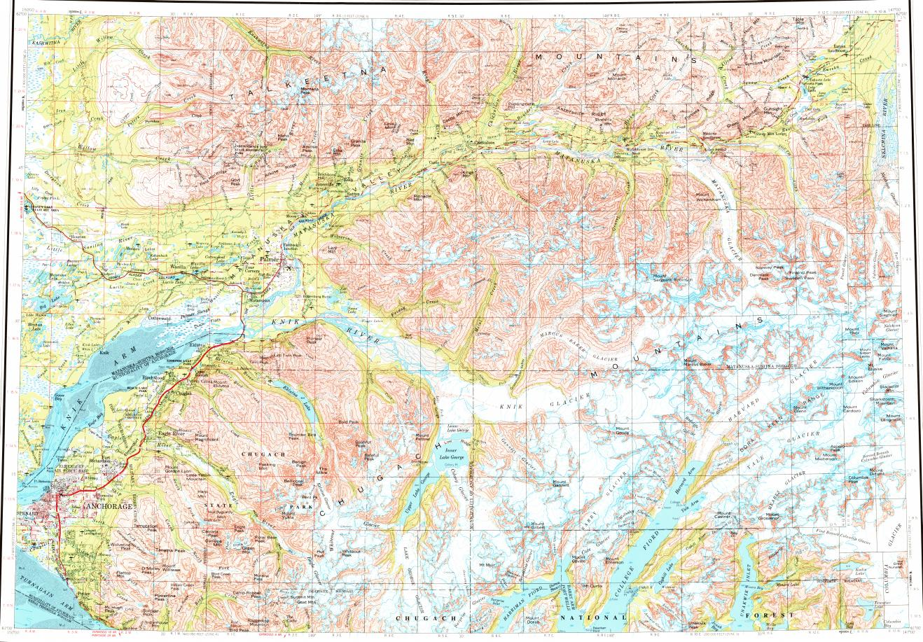 Download Topographic Map In Area Of Anchorage Butte Palmer