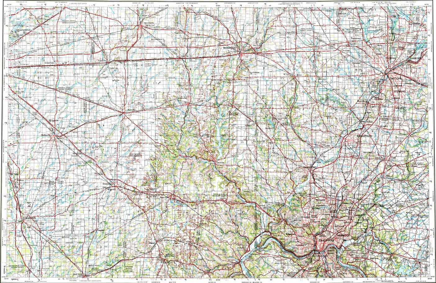 Download Topographic Map In Area Of Cincinnati Dayton Hamilton