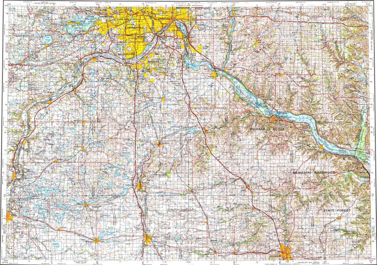 Download topographic map in area of Minneapolis, St. Paul, Rochester ...