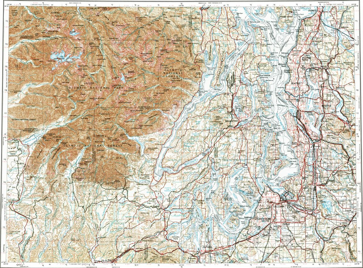 Download topographic map in area of Seattle Tacoma Olympia