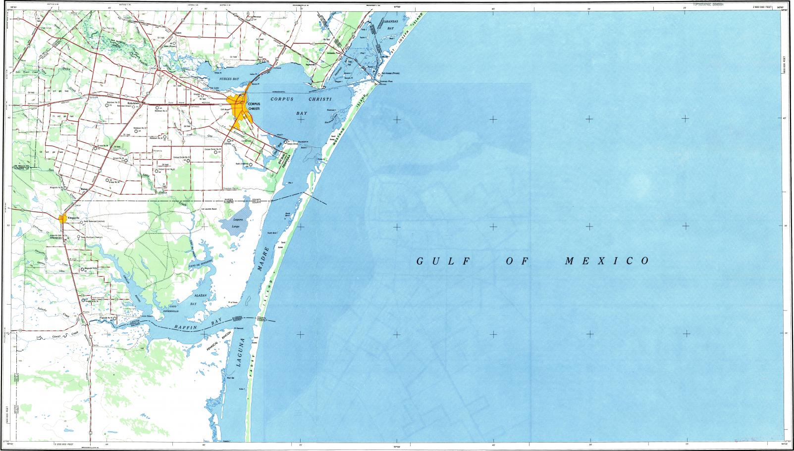 Map Of Texas Kingsville.Download Topographic Map In Area Of Corpus Christi Kingsville