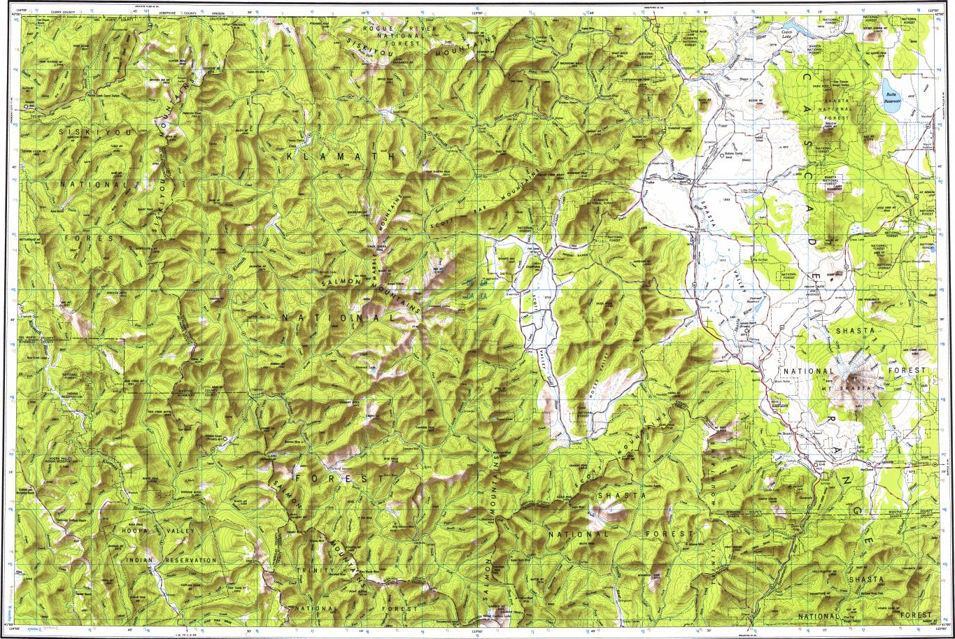 Download Topographic Map In Area Of Yreka Mount Shasta Dunsmuir
