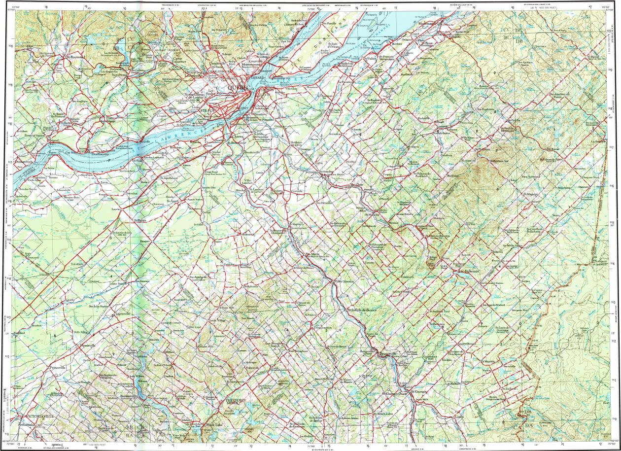 Quebec Topographic Map.Download Topographic Map In Area Of Quebec Charlesbourg Thetford